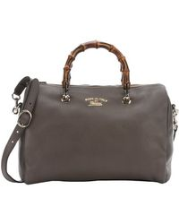 Gucci Brown Leather 'Bamboo Shopper Boston' Bag - Lyst