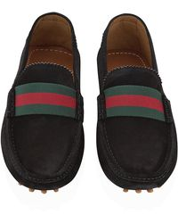 Gucci Web Detail Suede Driver - Lyst