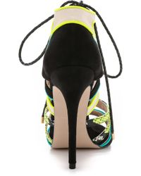 Carvela Kurt Geiger | Ghecko Strappy Sandals - Green/Combo | Lyst