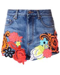 Christopher Kane Floral Appliqué Denim Shorts blue - Lyst