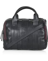 Topshop Perforated Leather Holdall  Burgundy - Lyst