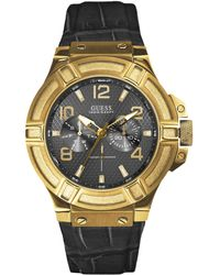 Guess Mens Black Croc-embossed Leather Strap Watch 46mm - Lyst