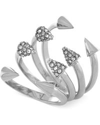 Vince Camuto - Silver-tone Crystal Arrowhead 4-piece Stack Ring Set - Lyst