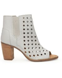 Toms Leather Basket Weave Womens Majorca Peep Toe Bootie - Lyst
