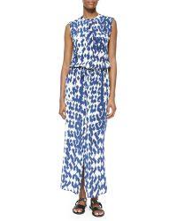 Vince Ikat-Print Cargo Maxi Dress - Lyst