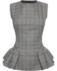 Alexander McQueen Peplum Pleated Top - Lyst