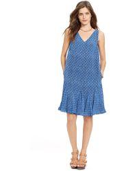 Lauren by Ralph Lauren Geo-Print V-Neck Dress - Lyst