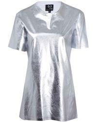 McQ by Alexander McQueen Silver Foil Cotton T-Shirt - Lyst