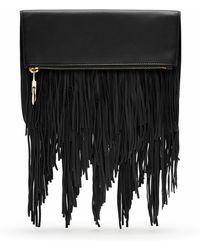 Elizabeth and James Andrew Fringe Fold-over Crossbody Bag - Black