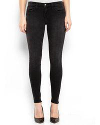 Current/Elliott Black Ankle Seamstress Skinny Jeans - Lyst
