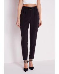 Missguided Gold Buckle Detail Cigarette Pants Black - Lyst