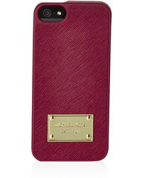 MICHAEL Michael Kors Leather Iphone 5/5S Case pink - Lyst