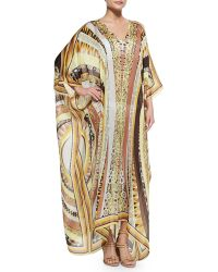 Emilio Pucci Printed V-neck Long Caftan Coverup - Lyst