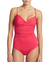 Badgley Mischka - Shirred Underwire Mio One-Piece Swimsuit - Lyst