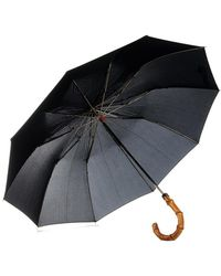 London Undercover Whangee-Cane Crook Collapsible Umbrella - Black