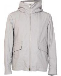 Jil Sander Grey Cotton Jacket With Hood gray - Lyst