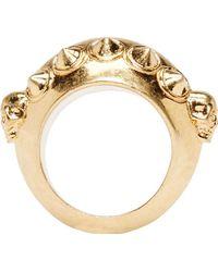 Alexander McQueen Gold Skulls and Horns Ring - Lyst