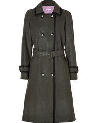 Olympia Le-Tan Wool Gretchen Trench Coat In Kaki - Lyst