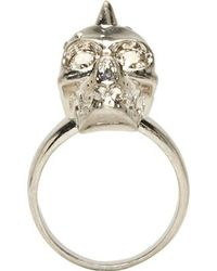 Alexander McQueen Silver Spiked Skull Ring - Lyst