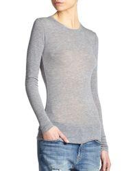 BCBGMAXAZRIA Agda Sheer Long-Sleeve Tee gray - Lyst
