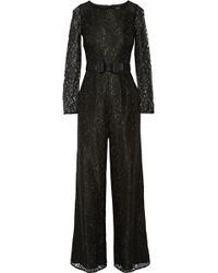 Badgley Mischka - Belted Lace Jumpsuit - Lyst