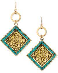 Devon Leigh Turquoisebrass Medallion Drop Earrings - Lyst