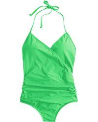 J.Crew Halter Wrap One-Piece Swimsuit green - Lyst