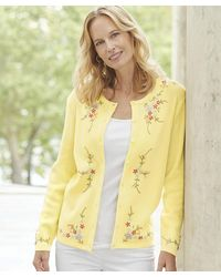 DAMART Embroidered Cardigan - Yellow