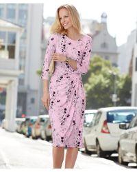 DAMART - 3/4 Sleeve Floral Print Dress - Lyst