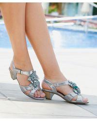 DAMART Elegant Floral Trim Velcro Sandals - Blue