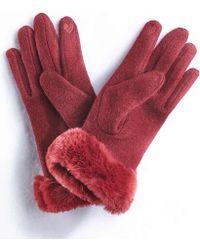 DAMART Faux-fur Trim Gloves - Red
