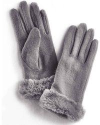 DAMART Faux-fur Trim Gloves - Gray