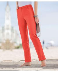 DAMART Slim Fit Pull-on Stretch Trousers - Red