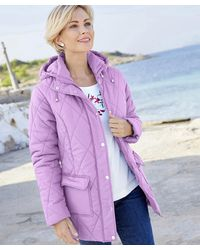 DAMART Showerproof Quilted Parka With Hood - Purple