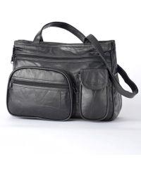 DAMART Leather Patch Bag - Black