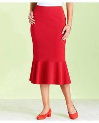 DAMART Peplum Hem Skirt - Red
