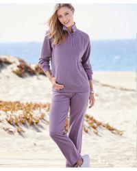 DAMART Check Trimmed Leisure Suit - Purple