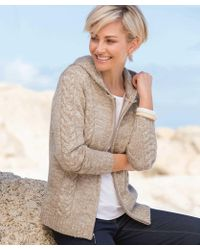 DAMART Cable Detail Hooded Cardigan - Natural