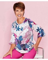 DAMART - Printed Fluted Sleeve Blouse - Lyst