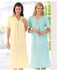 DAMART Pack Of 2 Embroidered Nightdresses - Blue