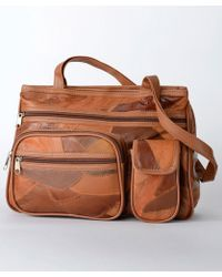 DAMART Leather Patch Bag - Brown