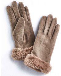 DAMART Faux-fur Trim Gloves - Brown