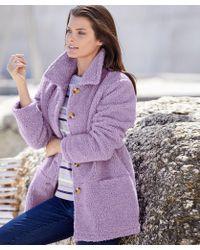 DAMART - Sherpa Button-through Fleece - Lyst
