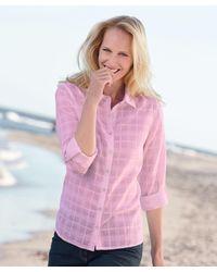 DAMART Cotton Check Blouse - Pink