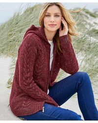 DAMART Cable Detail Hooded Cardigan - Red