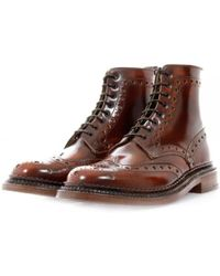 Grenson - Triple Welt Mahogany Leather Boot - Lyst