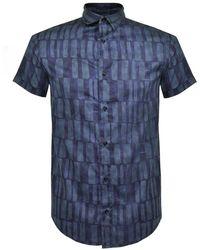 Armani Jeans - Short Sleeve Satin Stretch Shirt - Lyst