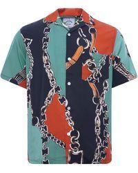 Portuguese Flannel Nautical 70's Shirt - Multi - Blue