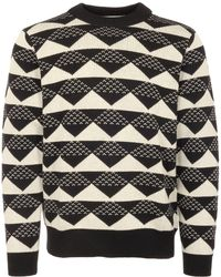 White Mountaineering - Triangle Jacquard Mock Neck Jumper - Lyst