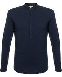 Orlebar Brown - Craine Ls Navy Henley T-shirt 264931 - Lyst